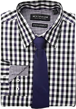 Multi Gingham Check Stretch Shirt with Micro Solid Dobby Tie