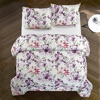 Casa Josie All Season Watercolor Floral Ultra-Soft Alternative Easy-Wash Lightweight Microfiber 3 Piece Comforter Set, Full/Queen, Purple and Pink