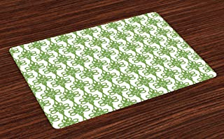 Lunarable Celtic Place Mats Set of 4, St. Patrick's Day Theme Celtic Knots Lucky Clover Design Pattern Irish Theme Print, Washable Fabric Placemats for Dining Table, Standard Size, White Green