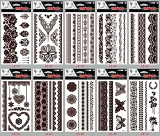 GGSELL GGSELL look like real temporary tattoos 10pcs Brown Indian Tribal style Jewelry fake tattoo stickers in a packages,including butterflies,jewelry lace,flowers,etc.