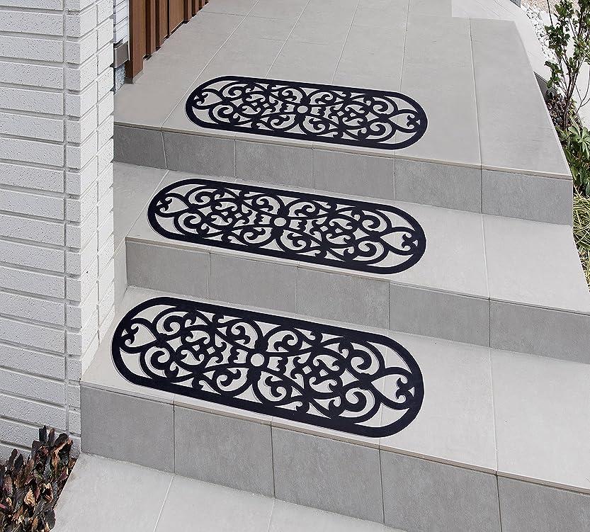 読みやすいアンビエント抗生物質【北欧風】おしゃれな屋外用階段マット (楕円形)