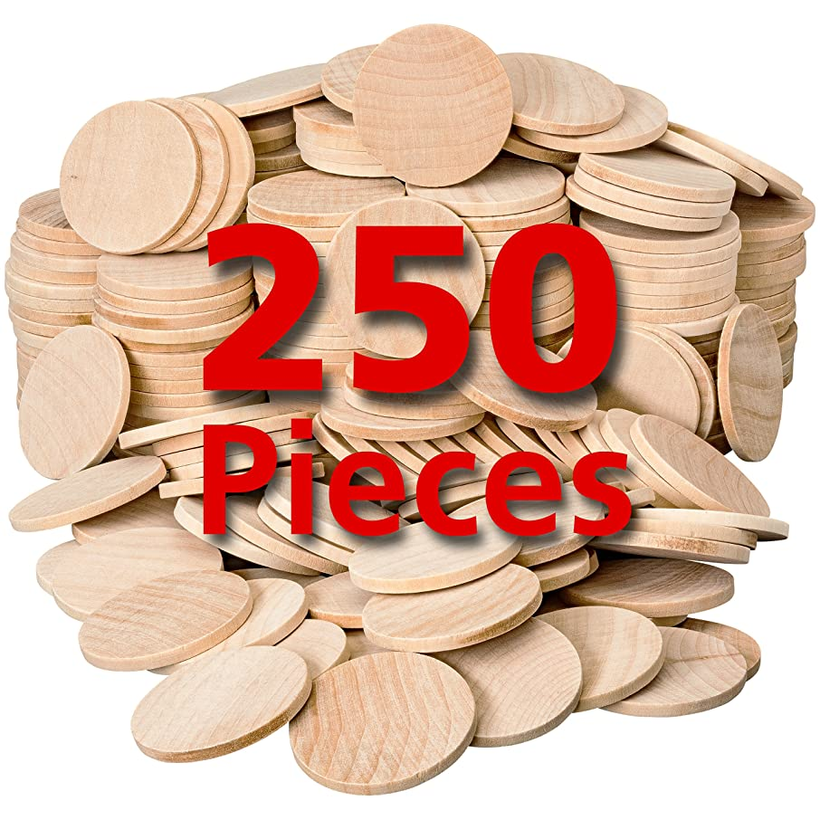 Round Unfinished Natural Wood Circles for Arts and Crafts 1.5 Inches (250 Pieces) by Dragon Drew