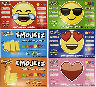 Set of 6 Emojeez Emoji Shaped Gummy Theater Box Variety Pack, 3.5 oz/ 99 gr ~ Made in the USA ~ Fat Free ~ Gluten Free ~ Nut Free! (Set of 6)