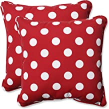 Pillow Perfect Decorative Polka Dot Toss Pillow, Square, Red/White