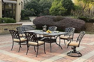 Darlee 201630-7PC-30RE Cast Aluminum 7 Piece Rectangle Dining Set & Seat Cushions, 42