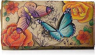 Women's Genuine Leather Three Fold Organizer Wallet, Hand-Painted Original Artwork