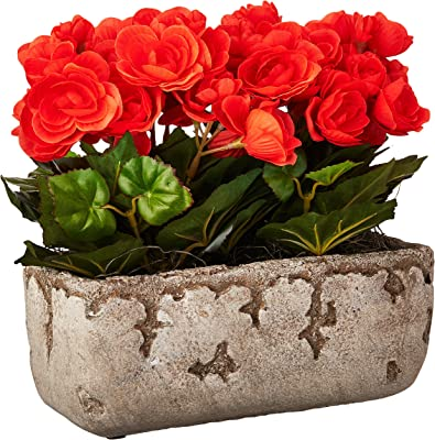 "Vickerman Begonia Arrangement Everyday Floral, 10"", Orange"