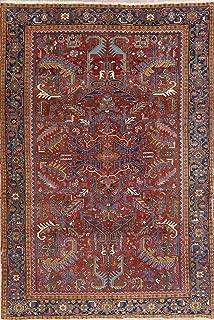 Antique Heriz Serapi Persian Area Rug Oriental Vegetable Dye Wool 7X10