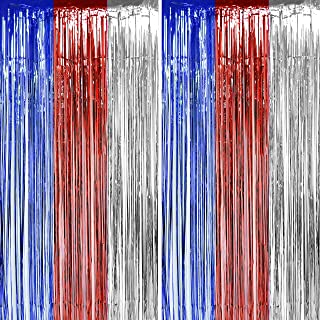 Independence Day Tinsel Foil Fringe Curtains - American Theme Party 4th of July Presidents National Day Birthday Wedding Party Decor Photo Booth Props Backdrops Decorations, 2pc
