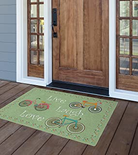 Brumlow Mills Spring Bicycles Green Kitchen And Entryway Rug, 1'8