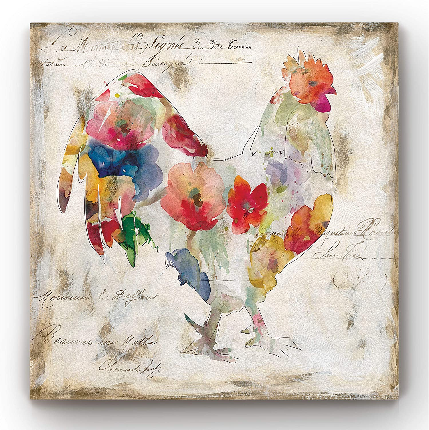 Renditions Gallery Flowered Rooster Wall Art, Chicken & Farm Artwork, Multicolored Flower Design, Country Barn Decor, Premium Gallery Wrapped Canvas, Ready to Hang, 12 in H x 12 in W, Made in America