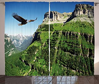 """Ambesonne Eagle Curtains, Wild Majestic Bird Flying Landscapes Green Mountains Forest Nature Image, Living Room Bedroom Window Drapes 2 Panel Set, 108"""" X 84"""", Black Green"""