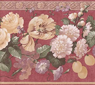 Blooming Yellow White Purple Flowers on Red Floral Extra Wide Wallpaper Border Retro Design, Roll 15' x 10.5''
