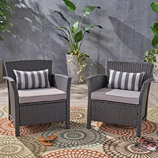 Christopher Knight Home 305347 Louisa Outdoor Wicker Club Chairs (Set of 2), Gray and Silver