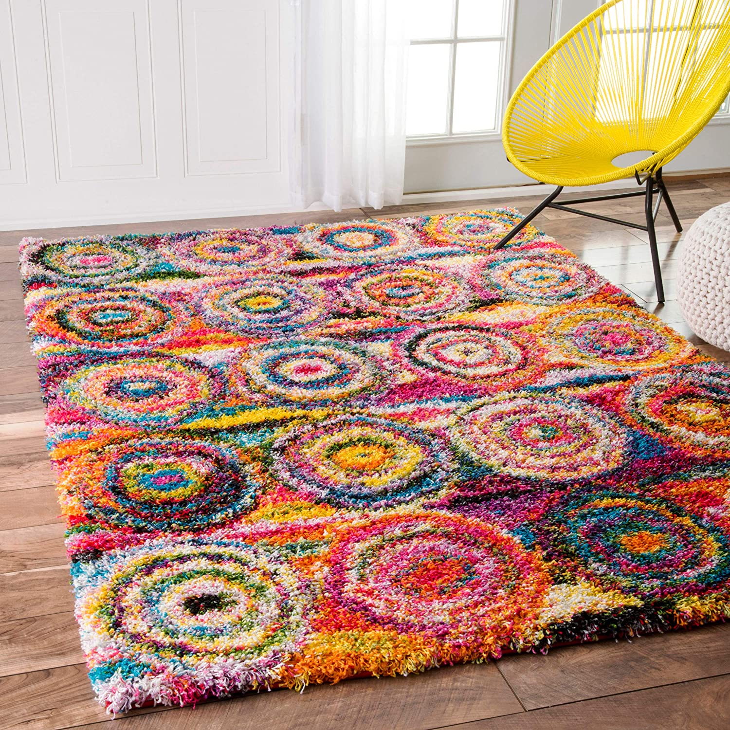 Inventory cleanup selling sale nuLOOM Kindra Circles Shag Area Free shipping anywhere in the nation Rug x 9' 12' Multi 2