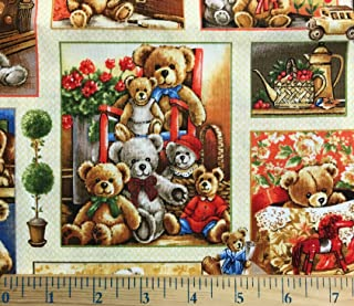 1/2 Yard - Bear Hugs Teddy Bear Block Cotton Fabric (Great for Quilting, Sewing, Craft Projects, Throw Blankets & More) 1/2 Yard X 44