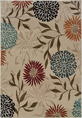 Living Comfort Aislinn 3ft 10in X 5ft 5in Grey/Brown Transitional Floral Indoor Area Rug,