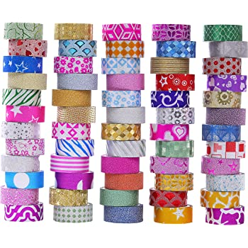 60 Rolls Glitter Washi Tape Set, Washi Masking Decorative Tapes for DIY Decor Planners Scrapbooking Adhesive School/Party Supplies