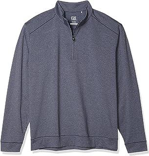Cutter & Buck Men's Soft, Performance, Subtle Stripe Shoreline Half-Zip Pullover