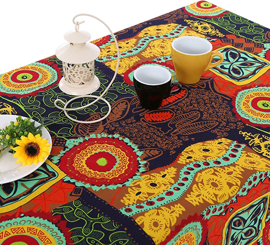 UniTendo Bohemia Mediterranean Style Tablecloths Table Cloth Retro Colorful Floral Table Cover For Dining Table Or Outside Picnic Furniture Cover For Home Decor 55 X86