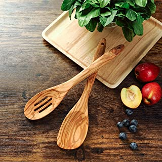 Wooden Spoons for Cooking,Olive Wood Slotted Spoon&Corner Spoon Set,Handmade Kitchen Utensils for Cooking,Mixing,Stirring ...