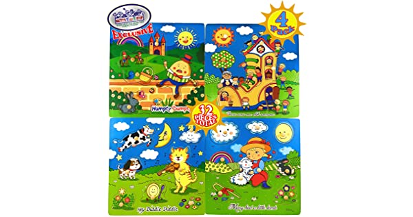 4 Pack Mattys Toy Stop Deluxe Nursery Rhymes Wood Peg Puzzles There was an Old Woman 8pcs Each, 32 Total Humpty Dumpty Hey Diddle Diddle /& Mary Had A Little Lamb Complete Gift Set Bundle