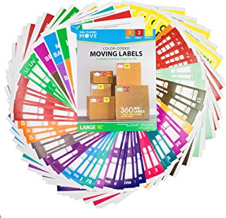 Complete Moving Label Kit - Large Color Coded Moving Labels, Color Chart and Room Signs to Organize & Prioritize Boxes, Size 4