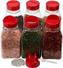 Spice Jars - 16 oz. clear plastic spice containers with shaker red two sided flip tops lids shaking sifter spoon caps - 6 sets - plus 2 mini spoons and 6 White indicating labels