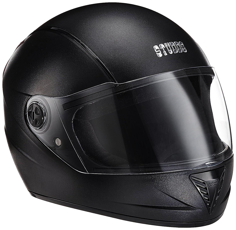 スタッドプロフェッショナルブラックブラックストリップフルフェイスヘルメット(L):Amazon.in:車&  バイク