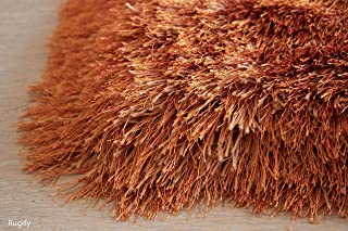 R Plush Fluffy Shag Shaggy Large Thick Furry Fuzzy Rectangle Furry Pile Soft Shimmer Patterned Contemporary 8-Feet-by-10-Feet Polyester Made Area Rug Carpet Rug Orange Rust Color