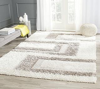 Safavieh Tapis Shag, Noué à la main Polyester Tapis en Blanc / Gris, 200 X 300 cm