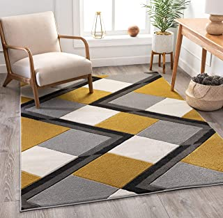 """Well Woven Good Vibes Nora Gold Modern Geometric Stripes and Boxes 5`3"""" x 7`3"""" 3D Texture Area Rug"""