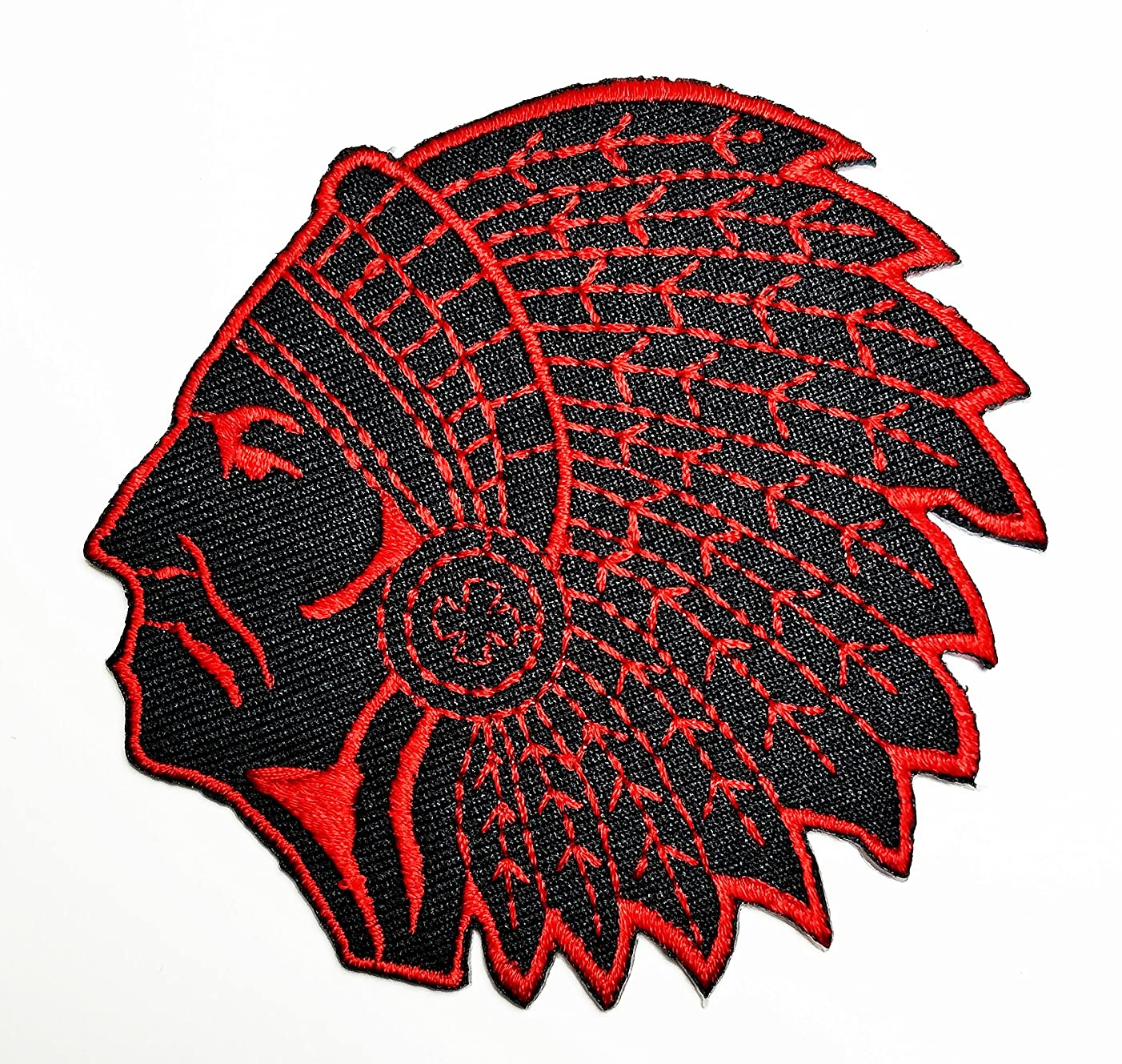 HHO Red Indian tribal chief (Black Red) Patch Embroidered DIY Patches, Cute Applique Sew Iron on Kids Craft Patch for Bags Jackets Jeans Clothes