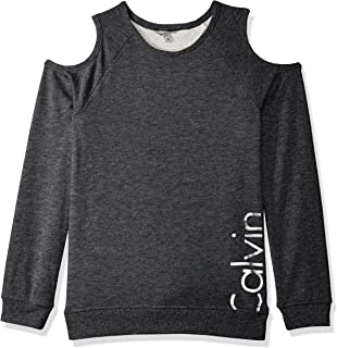 Calvin Klein Big Girls' Logo Cold Shoulder Sweatshirt