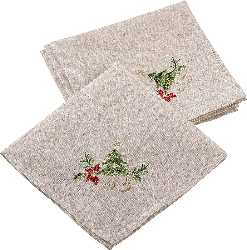 SARO LIFESTYLE Embroidered Christmas Tree Design Linen Blend Napkin Set Of 4 20 Natural