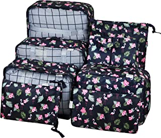 Vercord 8 Pcs Packing Cubes Pods Travel Luggage Suitcase Organizer and Shoes Laundry Bags Cyan Flamingo