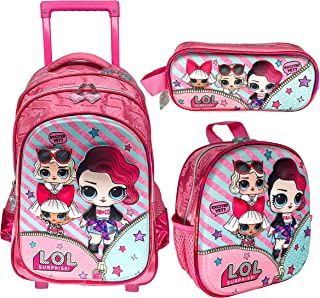 3D LOL SURPRISE SCHOOL BAG TROLLEY WITH BACKPACK FOR KIDS GIRL INCLUDE LUNCH BAG AND PENCIL CASE | 18 INCH (LOL SURPRISE S...