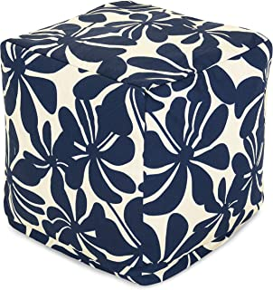 Majestic Home Goods Navy Blue Plantation Indoor/Outdoor Bean Bag Ottoman Pouf Cube 17