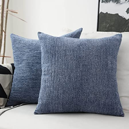 Amazon Com Home Brilliant Decor Throw Pillow Covers Supersoft Chenille Velvet Cushion Cover For Couch Bench 2 Packs 18x18 Inch 45x45cm Dark Blue Home Kitchen