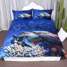 ARIGHTEX Turtle Bedding Sea Blue Duvet Cover Ocean 3D Corals Fishes Print for Teens Boys and Girls Sealife 3-Piece Quilt Set (Full)
