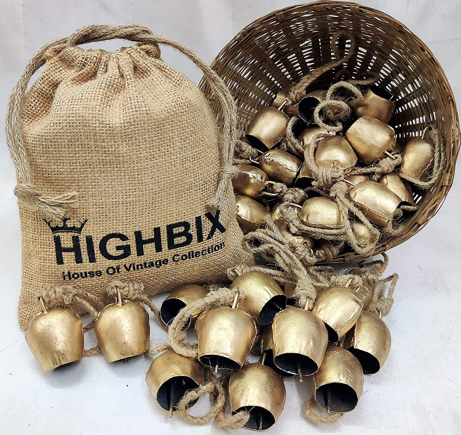 HIGHBIX 5cm Round Handmade Vintage Rustic 2021 spring and summer new Fe Tin Cow Bells Lucky New product type