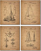 Sailing Patent Prints - Set of 4 Vintage Sailboat Wall Art Decor Photos