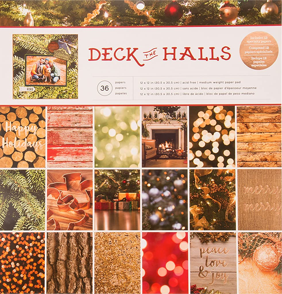 American Crafts Photo Real Deck The Halls Single-Sided Paper Pad 12