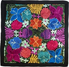 Soul of Tikal Guatemalan Boho Floral Embroidered Throw Pillow Cover Made Traditional Huipil Bohemian Pillow Case (Multi)
