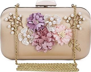 dddd34bb69c3d Chichitop Women s Flower Evening Clutch Pearl Evening Handbag Wedding Clutch  Purse