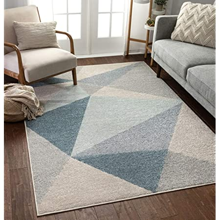 Well Woven Easton Modern Abstract Geometric Triangles Blue Grey Area Rug 220x160 Cm 5 3 X 7 3 Ft Amazon Co Uk Kitchen Home