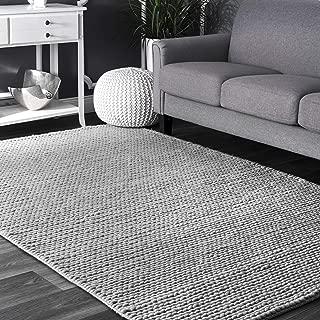 nuLOOM Hand Woven Caryatid Handwoven Solid Wool Rug, 8' x 10', Grey, Light Gray