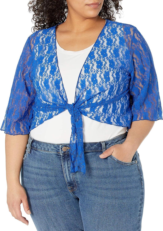 Star Vixen Women's Plus-Size 3/4 Sleeve Lace Tiefront Shrug Sweater