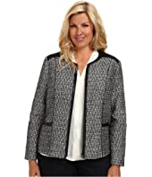 NYDJ Plus Size - Plus Size Metallic Leather Tweed Jacket