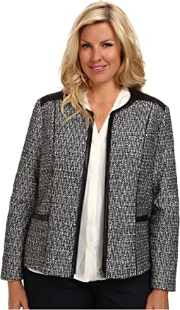 Plus Size Metallic Leather Tweed Jacket